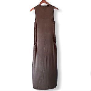 Joan Vass High Neckline Maxi Dress with Pockets